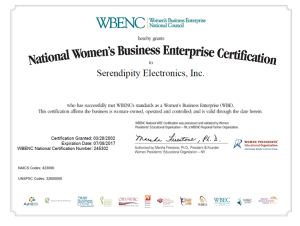 WBENC     National Women's Business Enterprise Certification. Certifies Serendipity Electronics as Women Owned Business